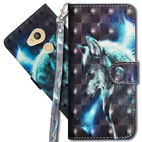 MRSTER Sony Xperia L2 Handytasche, Leder Schutzhülle Brieftasche Hülle Flip Hülle 3D Muster Cover mit Kartenfach Magnet Tasche Handyhüllen für Sony Xperia L2. YX 3D - Wolf