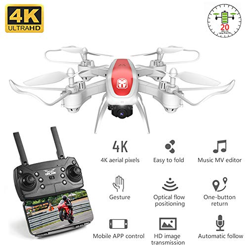 4K Opvouwbare Drone Met HD Camera, Wifi Video Live FPV RC Drone, Light Flow, Vaste Hoogte Quad-Axis Aircraft, 20 Minuten Vliegtijd, Kids Toy