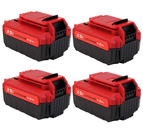 4-Pack 6.0Ah 20V PCC685L Battery for Porter Cable 20V MAX Battery Lithium PCC685L PCC680L Replacement Porter Cable 20-Volt Lithium Battery