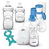 Philips Avent Premium Set Stillen ab Geburt // Glas Flaschen & Aufbewahrungssystem für Muttermilch // SCF301/02 Elektrische Kompakt-Milchpumpe