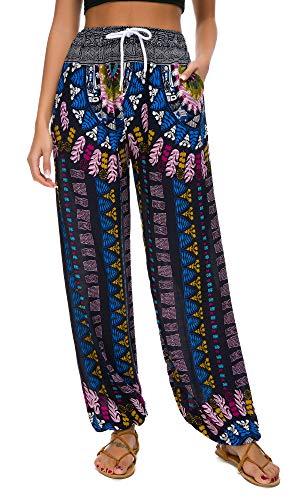Urban GoCo Mujeres Casual Pantalones Harem Boho de Impreso Cintura de Cordón Pantalón (Large, 18)