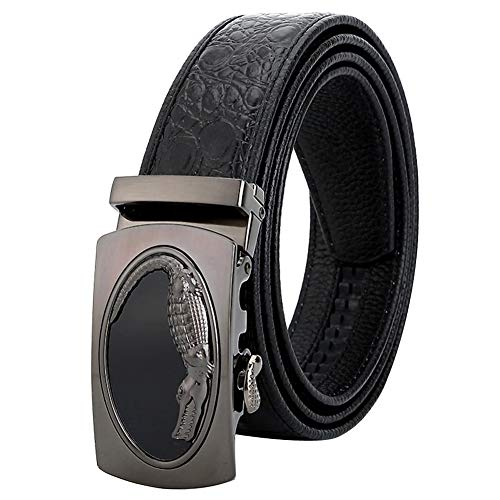 Belts Men Real Leather, Automatic Silver Buckle Crocodile Pattern Black Boy Belt Cow Leather (Gift Box) Casual Pants Business Work Suit, Length 110-125 Cm 34 Waist