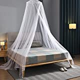 NJN Bed Canopy Mosquito Net, Hanging Bed Canopy Netting for Single to King Size Beds (White)