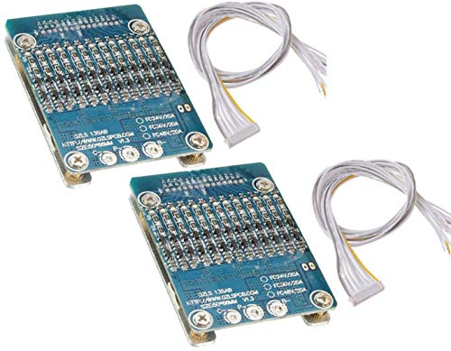 TECNOIOT 2pcs 13S 48V 20A Li-Ion Lithium Cell 18650 Battery Protection BMS PCB Board