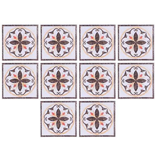 10 piezas de pegatinas autoadhesivas para azulejos, PVC, adhesivo diagonal, suelo de baldosas, pegatinas de pared, pegatinas cuadradas vintage para azulejos, azulejos de baño, 8x8cm