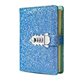 Digital Password Journal Combination Lock Diary Locking A6 Refillable Leather Journal (Blue)