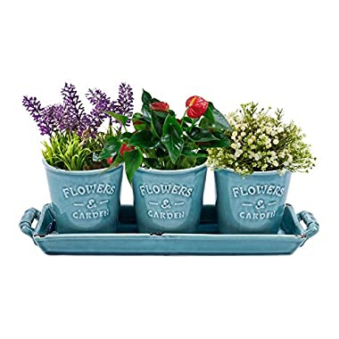 Vencer Country Rustic Turquoise Ceramic Succulent Planters - Flower Pots & Handled Display Tray,Office Desktop Potted Stand,Home & Office Decor Accent,Set of 3,VF-016