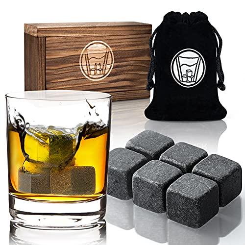 Hochwertiges Whisky Steine Set Inkl. 6er Eiswürfel Eissteine, Samtbeutel, Geschenkbox aus Holz | Whisky Stones Geschmacksneutral & Kein Verwässern | Kühlsteine für Whiskey, Vodka, Gin & Wine