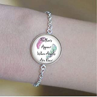 Feathers Appear When Angels are Near - Inspirational Quote Bracelet