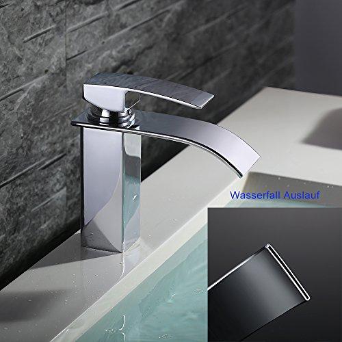 Homelody – Einhebel-Waschtischarmatur, ohne Ablaufgarnitur, Wasserfallarmatur breite Form, Chrom - 4