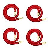Red Velvet Stanchion Rope Barrier Golden Hook- Set of 4 PCs for Red Carpet Filmroom Wedding (5 Feet Long) Bulk