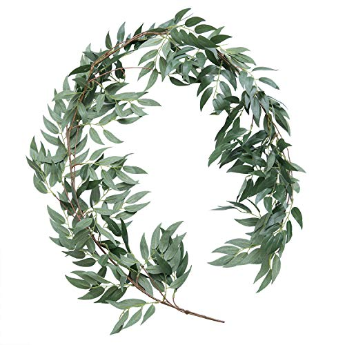 Ling's moment Artificial Willow Greenery Vine Garland for Wedding Arch Backdrop Photo Booth Table Centerpieces Greenery Decorations - 5.5 FT