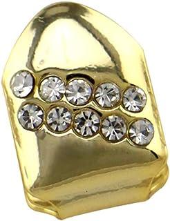 YHDD ユニセックス豪華シングルゴールドメッキヒップホップブリンシルバー歯 - 大人のための高い光沢のコスチュームパーティーアクセサリー (色 : ゴールド)