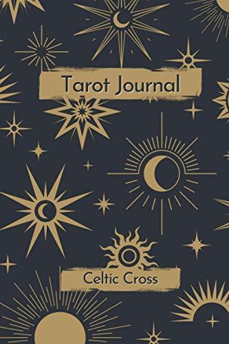 Tarot Journal - Celtic Cross: tarot cards reading journal to track your Celtic Cross draw, question, interpretation, messages, desk travel size   moon ... design, cream paper   Celtic Cross spread.