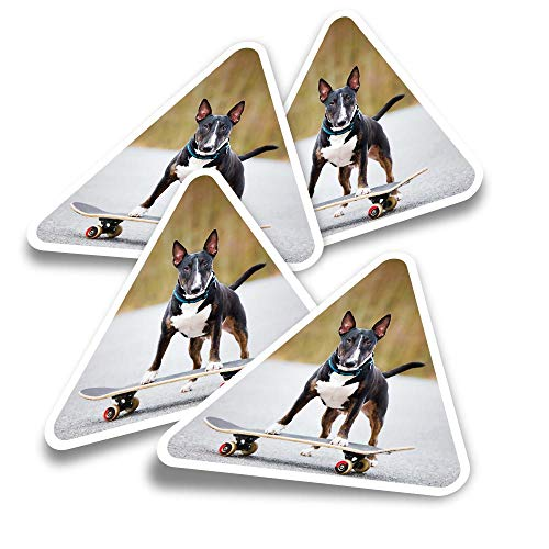 Pegatinas triangulares de vinilo (juego de 4) – English Bull Terrier Dog...