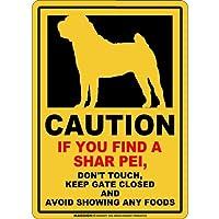 CAUTION IF YOU FIND マグネットサイン:シャーペイ(レギュラー)イエロー 注意 DON'T TOUCH 触れない/触らない KEEP GATE CLOSED ドアを閉める 英語 防犯 アメリカンマグネットステッカー