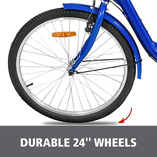 Happybuy Adult Tricycle Single Three Wheel Bike 24inch Seat Adjustable Trike with Bell Brake System and Basket Cruiser Bicycles Large Size for Shopping(24 Blue Singl   e)