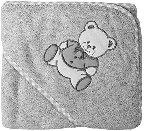 NOSBEBES Serviette Cap Sortie de bain bébé idée cadeau bébé naissance maternité ou idée annonce de grossesse (GRIS-OURS)