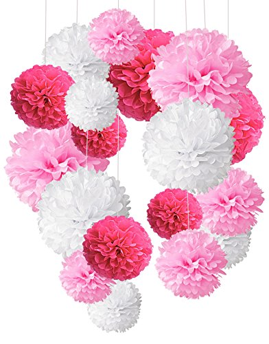 Cocodeko 18 Pezzi Pompon in Carta Velina Decorativo Palla Fiore per Il Compleanno Decorazione della Festa Nuziale - Rosa, Profondo Rosa e Bianco