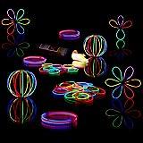 Relaxdays 10020583 Lightstick con Connettori, Durata Luce 8 Ore, 100 Bastoncini Fluorescenti, Braccialetti Luminosi, Vari Colori