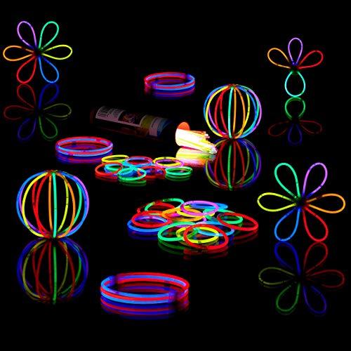 Relaxdays Bracelets fluorescents batons lumineux 100 pièces avec connecteurs 6 couleurs