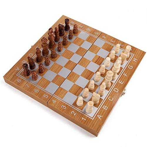 PIVFEDQX Juego de ajedrez portátil de ajedrez de madera plegable tablero de ajedrez juego internacional de ajedrez para fiestas, actividades familiares, ajedrez (ejercicio de pensamiento intelectual)