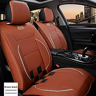 Maite PU Leather Car Seat Covers Cushions 5 Seats Full Set for TOYOTA Yaris Aygo Camry C-HR Corolla Highlander Front Rear Seat Pad Protectors (Brown and Black)