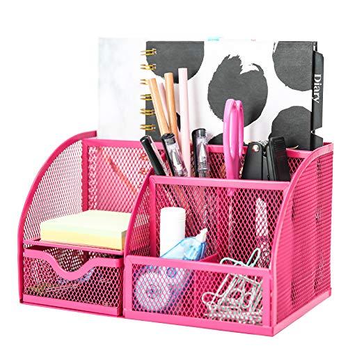 EXERZ Tisch-Organizer/Schreibtisch Organisator/Schreibtisch Tidy/Stifthalter/Multifunktions -Organisator (Rosa)