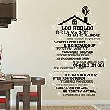 Wallflexi Stickers muraux Cristaux de Swarovski et règles de la Maison en français sur Le Toit Décoration de la Maison Café...