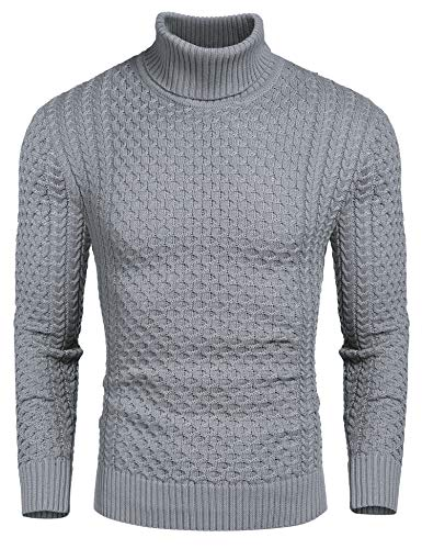 COOFANDY Men's Slim Fit Turtleneck Sweater Casual Knitted Twisted Pullover Solid Sweaters Gray