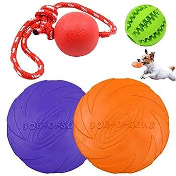 Dog Frisbee Disque Volant Jouet Jouet à Mastiquer pour Chien en Caoutchouc de Boule,JEANGO Pet Frisbee Chien Balle Corde pour Entraînement Amusement Interactif Animal Domestique Jouet à Mâcher(4PCS)