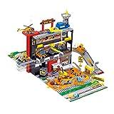 MAJOZ0 Aparcamiento infantil, garaje con 2 minicoches y 1 helicóptero, tren de carreras de coches, juguete de regalo para niños