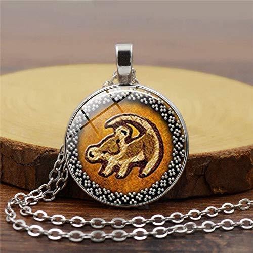 König der Löwen Halskette mit Löwenkopf-Anhänger, Simba-Schmuck, rundes Glasbild, modisch, Vintage, Bronze, Anhänger Schmuck