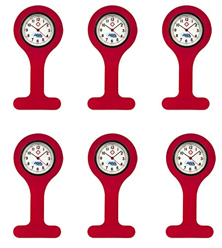 Set of 6 Silicone Nurse Watch W/Pin/Clip, Infection Control Design, Health Care, Nurse, Doctor, Paramedic, Nursing Student, Medical Brooch Fob Watch (Red)