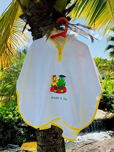 Freds Swim Academy 20711 Poncho en velours doux avec motif Fred & Gina Blanc env. 60 x 55 cm