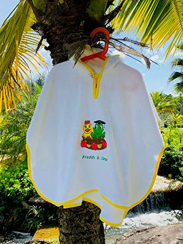 Freds Swim Academy 20711 Poncho en velours doux avec motif Fred & Gina Env. 60 x 55 cm, blanc