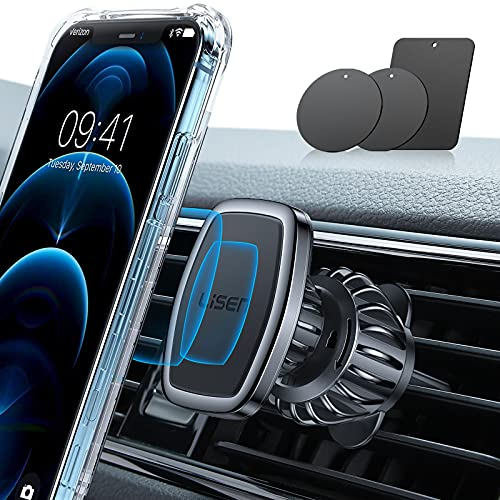 LISEN Car Phone Holder Mount, [Upgraded Clip] Magnetic Phone Car Mount [6 Strong Magnets] Cell Phone Holder for Car [Case Friendly] iPhone Car Holder Compatible with 4-6.7 inch Smartphones & Tablets