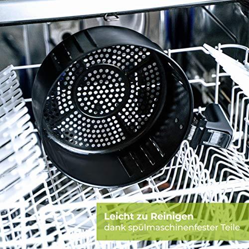 NUTRI-FRYER Heißluftfritteuse XXL 2000W Airfryer 4.5 L Groß mit Filter | Cool Touch | Digital Touchscreen mit Timer | Krosse Pommes – Frittieren ohne Fett & ohne Öl | Rezepte & Pommesschneider (Weiss) - 6