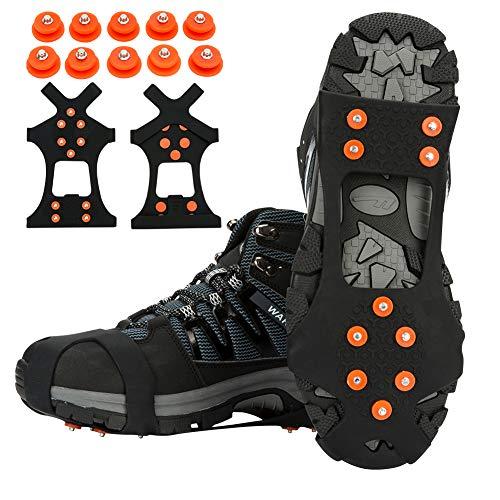 TBoonor Schuhspikes Schuhkrallen Ice Klampen Schnee Spikes Steigeisen Eiskrallen Anti Rutsch mit 10 Spikes für Schnee und EIS (Orange rot, L 40.5-45 (EU))