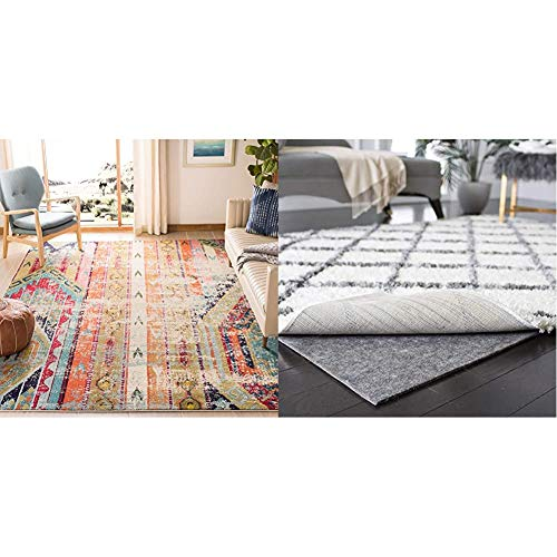 Safavieh Monaco Collection MNC222F Modern Bohemian Distressed Area Rug, 6