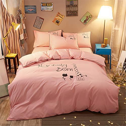 DUJUN Conjunto de Ropa de Cama de Dibujos Animados de Dormitorio de Personalidad de Color sólido (Funda nórdica + sábanas + Funda de Almohada) A-7 150 * 200cm+200 * 230cm+(48 * 74cm)*2