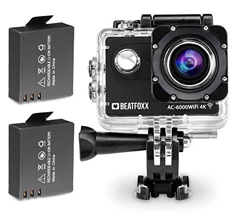 Beatfoxx AC-6000WiFi 4k Full HD Action Kamera (Unterwassergehäuse, 170° Weitwinkel Objektiv, integrierte WiFi Schnittstelle, Fernbedienung, umfangreiches Halterungsset, inkl. 2 Akkus) Schwarz