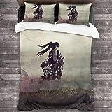 QWAS Devil Hunter – Juego de ropa de cama de microfibra, cómodo y suave, fácil de limpiar (A01,220 x 240 cm + 50 x 75 cm x 2)