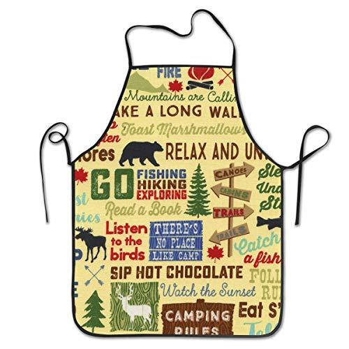 N\A Camping Wörter Unisex Schürzen für Frauen Männer Chef Schürze zum Kochen Schürze Taschen für zu Hause