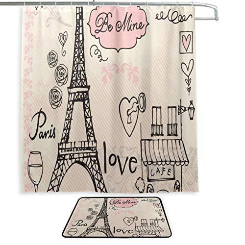 Cortina de Ducha para el hogar Love Paris Travel France Card Cortina de decoración de baño Alfombra de baño y Cortina de Ducha 2 Juegos con 12 Ganchos para baño Principal, baño de niños, baño de Visi