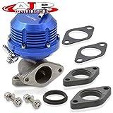 AJP Distributors Universal Blue Wastegate External 35mm 38mm Exhaust Turbo Manifold 2 Bolt Flange Mount Jdm Sport Aluminum Horizontal Rib Adjustable Performance Upgrade Replacement