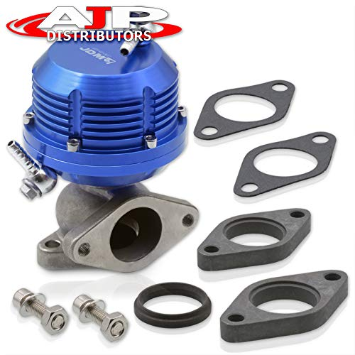 AJP Distributors Universal Blue Wastegate External 35mm 38mm Exhaust Turbo Manifold 2 Bolt Flange Mount Jdm Sport Aluminum Horizontal Rib Adjustable Performance Upgrade Replacement