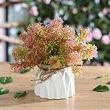 AJIAHHIns nórdico Simulación de Flores Falsas Decoración de Flores Decoración de la Sala de Estar Decoración de la Mesa Pequeña Flor de Seda Fresca Ramo en Maceta Arreglo Floral Algas Rosadas Traje
