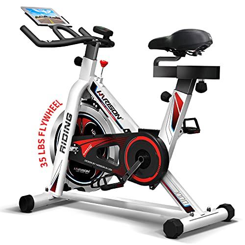 HARISON Bicicleta de ejercicio para interior de bicicleta con soporte para iPad, volante de inercia de 35 libras para gimnasio en casa, ejercicio cardiovascular