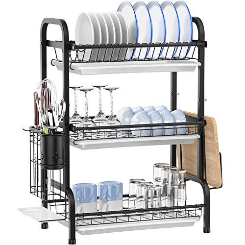 Escurreplatos Ace Teah de 3 niveles, 201 acero sin cepillo, soporte para utensilios y 3 tablas de drenaje, color negro